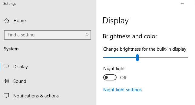 تنظیم روشنایی صفحه در تنظیمات ویندوز