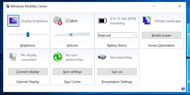 تنظیم روشنایی صفحه در Windows Mobility Center