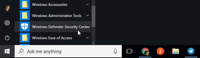بخش Windows Defender Security Center در ویندوز