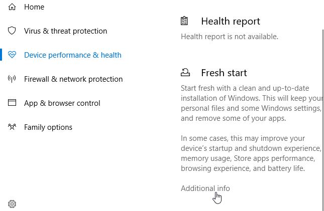 استفاده از Fresh start ویندوز