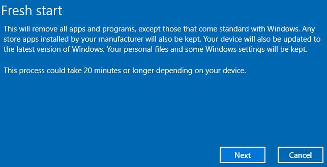 نصب مجدد ویندوز با Fresh Start