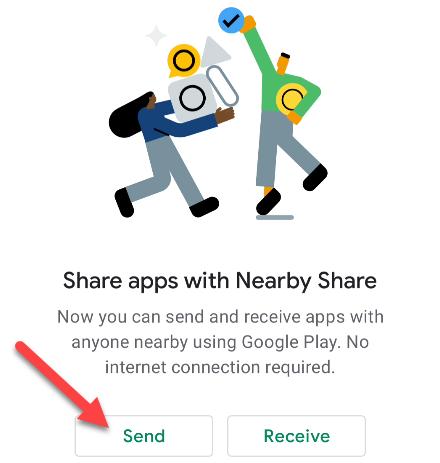 ارسال برنامه از طریق Nearby Share اندروید