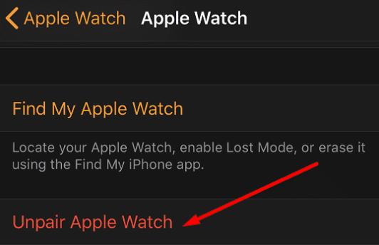 unpair کردن اپل واچ