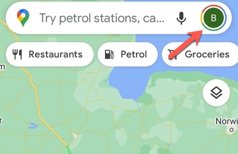 انتخاب پروفایل در گوگل مپ برای تغییر مقیاس