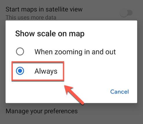 تغییر واحد فاصله در گوگل مپ