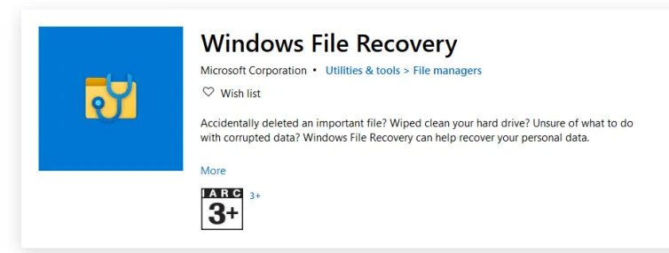 دانلود برنامه Windows File Recovery