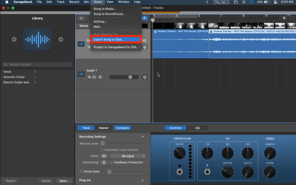 جداکردن صدا و تصویر در برنامه GarageBand