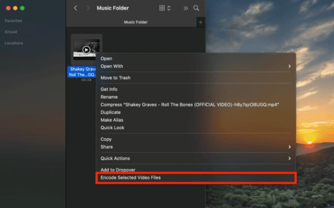 ابزار Encode Selected Video Files در مک