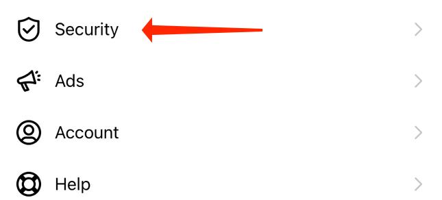 ورود به بخش Security در اینستاگرام