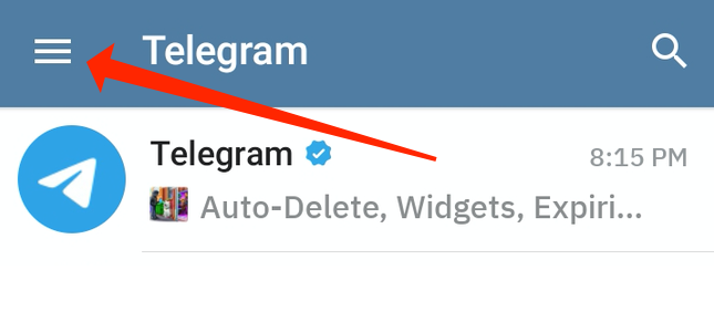ورود به منو قابلیت های تلگرام در اندروید